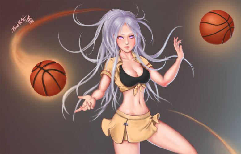 ball basketball bra breasts cleavage eliskalti gray gray hair league of legends long hair ponytail purple eyes seifuku signed sport syndra underwear wallpaper