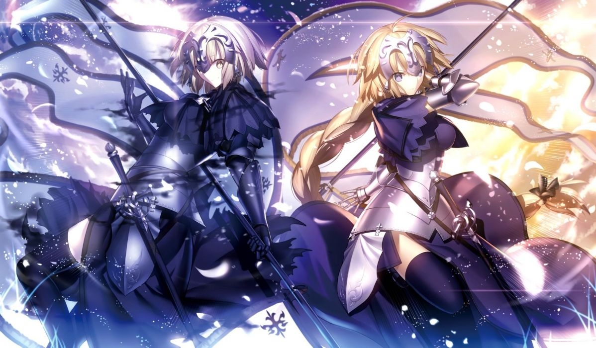 armor blonde hair blue eyes braids fate grand order jeanne d'arc alter long hair ponytail shinooji short hair thighhighs weapon yellow eyes wallpaper