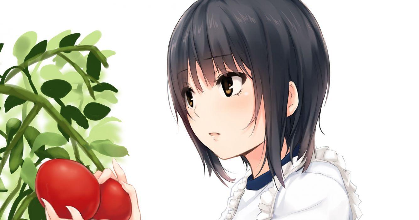 aoyama sumika apron black hair brown eyes coffee-kizoku food leaves original short hair white wallpaper