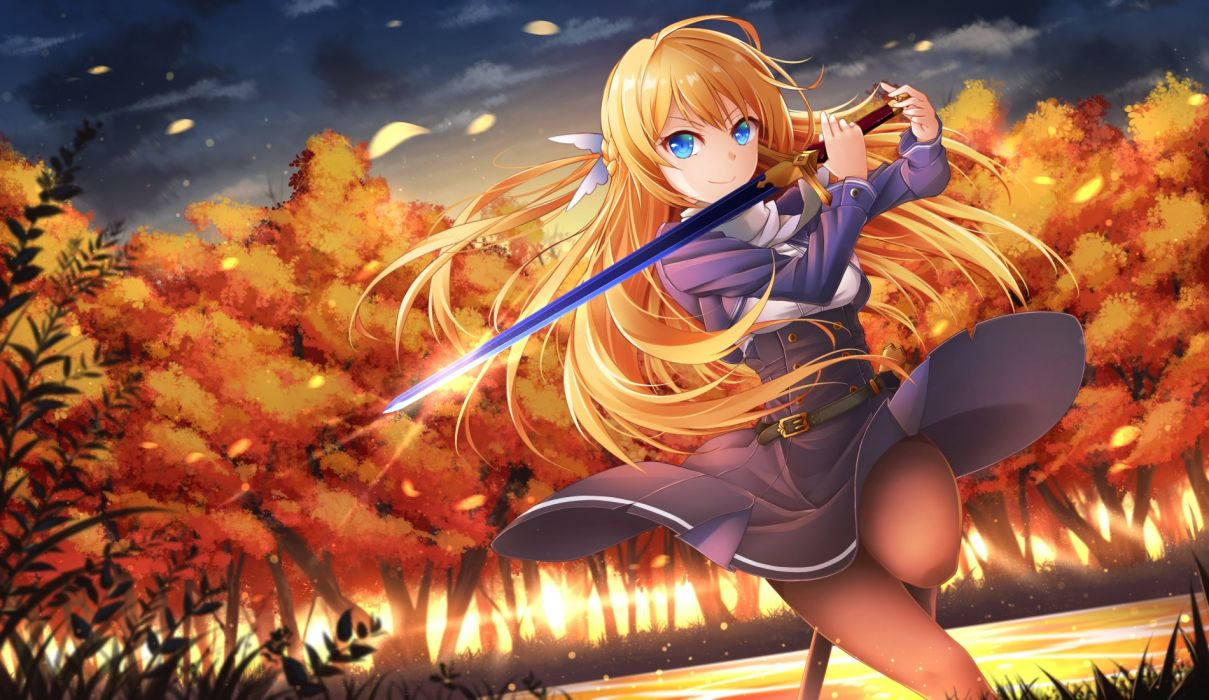 autumn blue eyes clouds dress forest healther leaves long hair original pantyhose petals sky sunset sword tree water weapon wallpaper