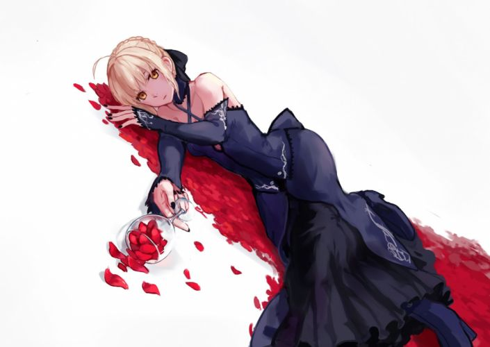 blonde hair boots dress fate stay night gothic kubiao petals saber saber alter white yellow eyes wallpaper