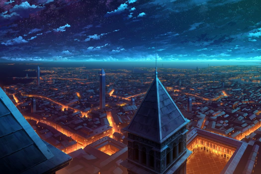 city clouds kami (yoshipt0716) night nobody original scenic sky stars water wallpaper