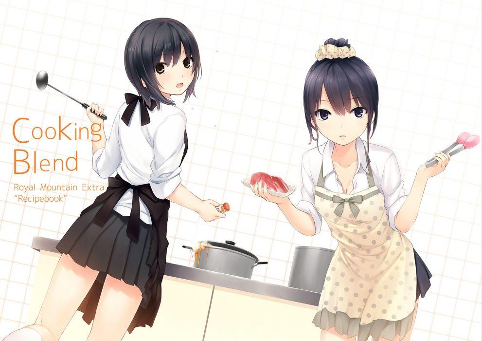 girls aoyama sumika apron black hair blue eyes breasts brown eyes cleavage coffee-kizoku food original ponytail seifuku shiramine rika short hair wallpaper