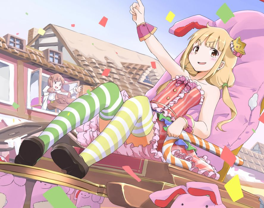 dress futaba anzu idolmaster idolmaster cinderella girls moroboshi kirari sekira ame thighhighs wallpaper