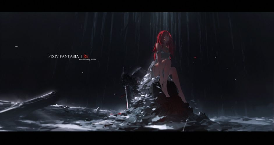 armor barefoot breasts cleavage dark dress long hair mivit original pixiv fantasia red hair sword torn clothes water watermark weapon wallpaper