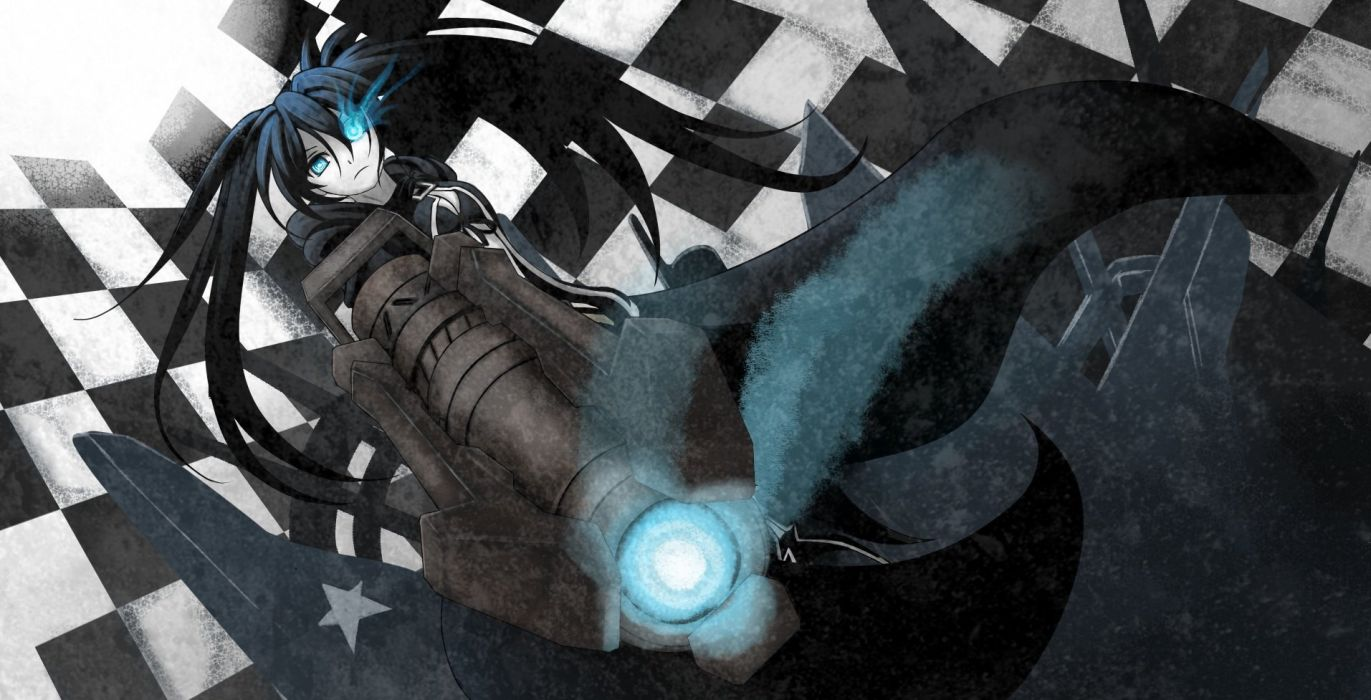 black hair black rock shooter blue eyes great kuroi mato long hair twintails wallpaper