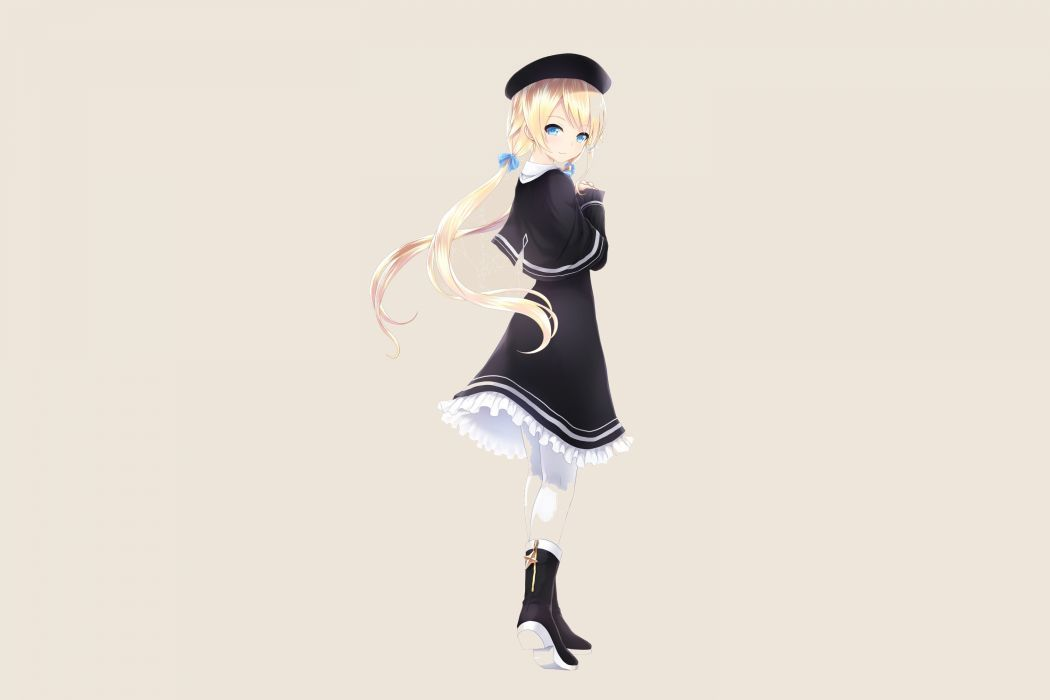 blonde hair blue eyes boots cait dress hat magi in wanchin basilica pantyhose twintails xiao ma wallpaper