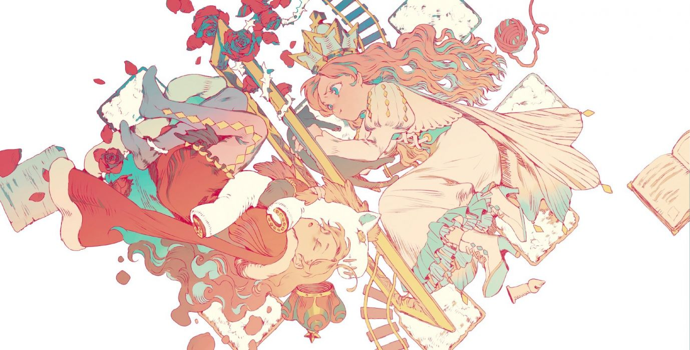 girls animal aqua eyes blonde hair book cat crown dress flowers original photoshop polychromatic rei (sanbonzakura) rose wallpaper