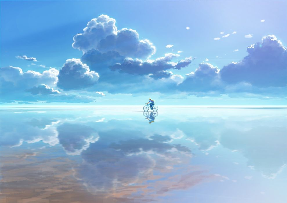 male bicycle clouds male original saitama (nrh49840) scenic sky water wallpaper