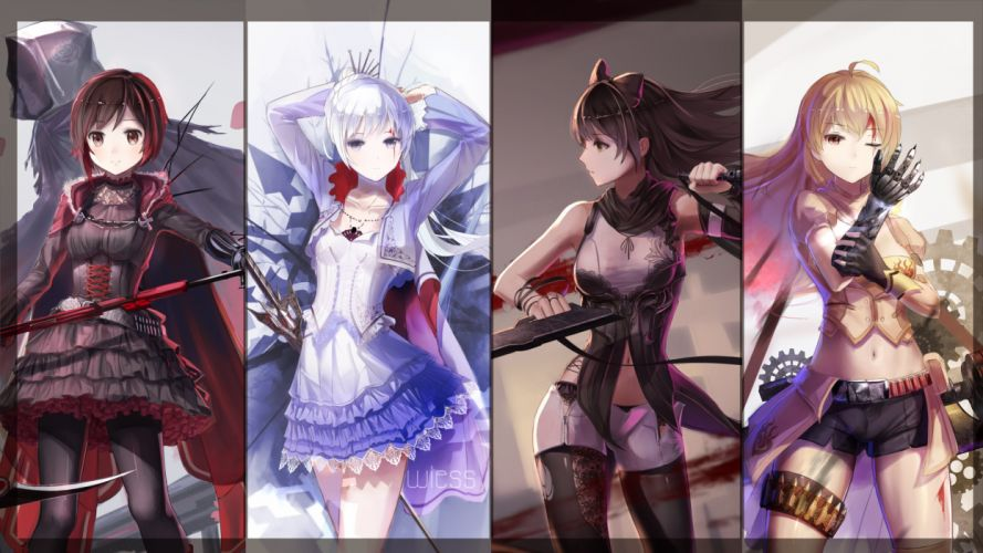 blake belladonna blood cape gloves navel pantyhose red flowers ruby rose rwby scythe shorts sword thighhighs weapon weiss schnee wink yang xiao long wallpaper