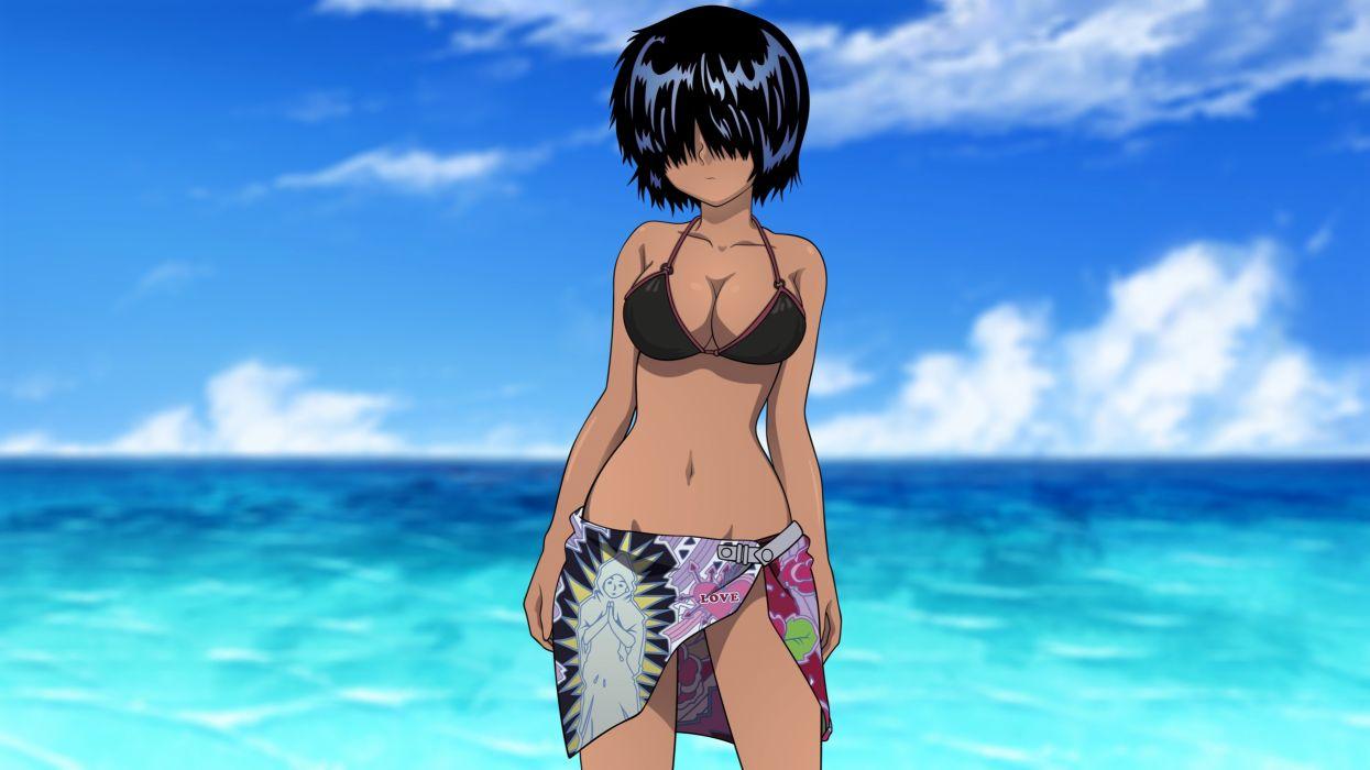 beach bikini nazo no kanojo x photoshop swimsuit urabe mikoto wallpaper