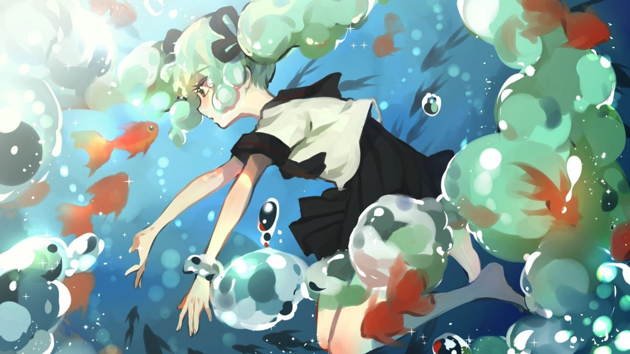 animal bottle miku fish hatsune miku seifuku twintails vocaloid water yuzhi wallpaper