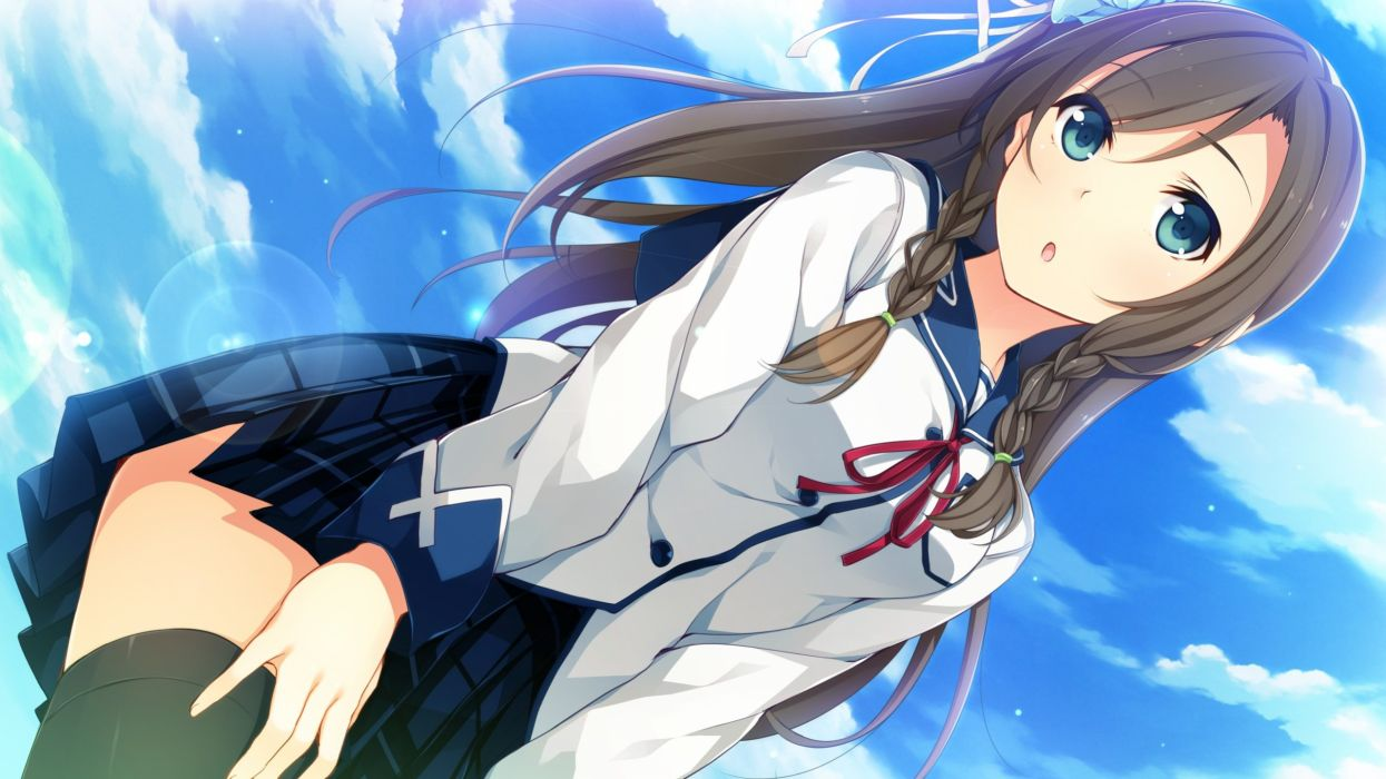 akabeisoft3 close game cg long hair seifuku skirt sky sorairo innocent thighhighs tsukigase mahiru unasaka ryou wallpaper