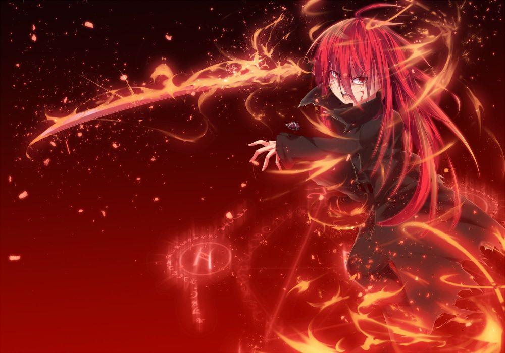 blood long hair magic nakada daichi red eyes red hair shakugan no shana shana sword torn clothes weapon wallpaper
