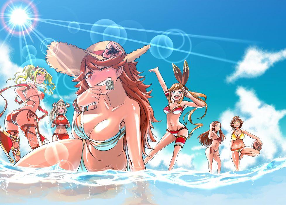 bikini breasts cleavage dekosukentr granblue fantasy group hat mary (granblue fantasy) navel swimsuit water zeta (granblue fantasy) wallpaper