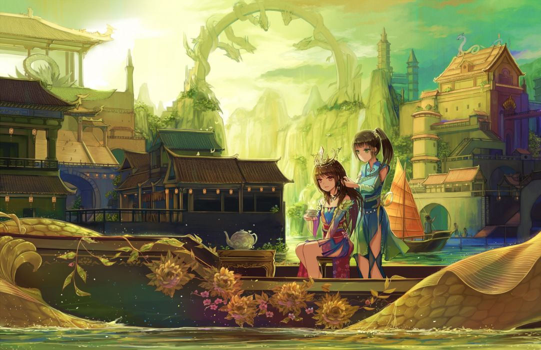 girls aliasing boat brown hair green eyes natsumoka orange eyes original ponytail scenic water wallpaper