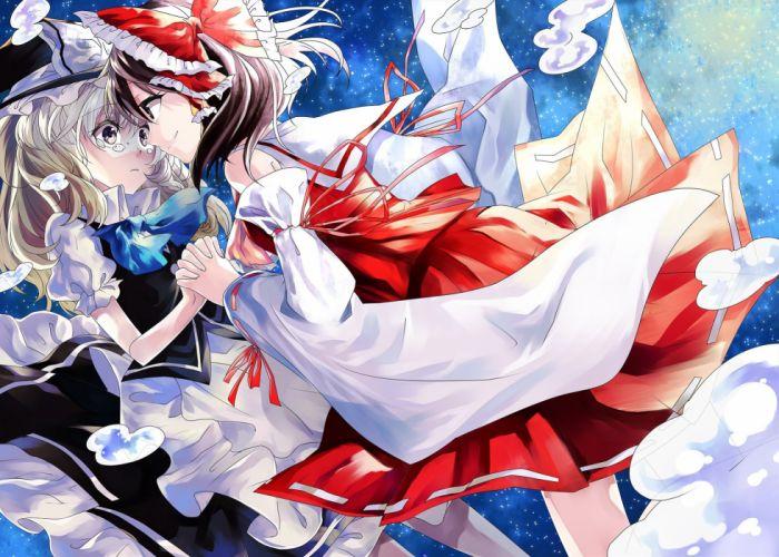 girls bow hakurei reimu hat japanese clothes katayama kei kirisame marisa miko shoujo ai touhou witch wallpaper