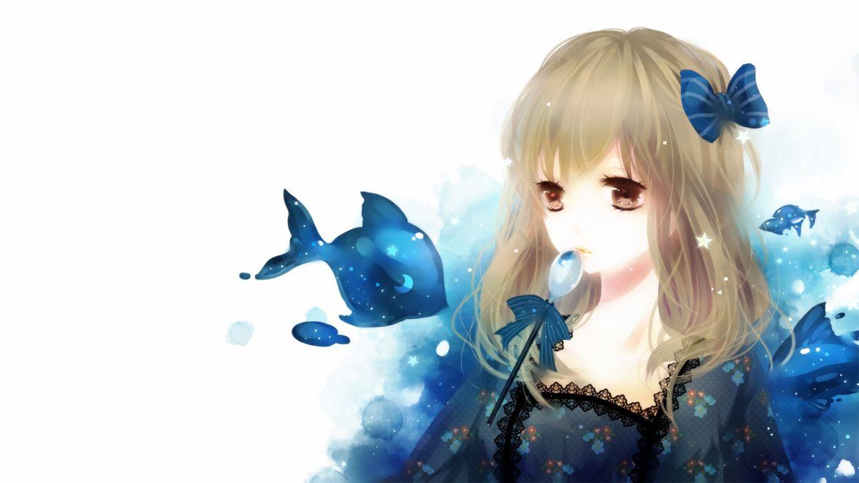 animal blonde hair brown eyes fish original photoshop polychromatic ribbons yukichi wallpaper