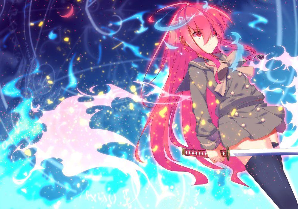 aliasing long hair nakada daichi red eyes red hair seifuku shakugan no shana shana sword thighhighs weapon wallpaper