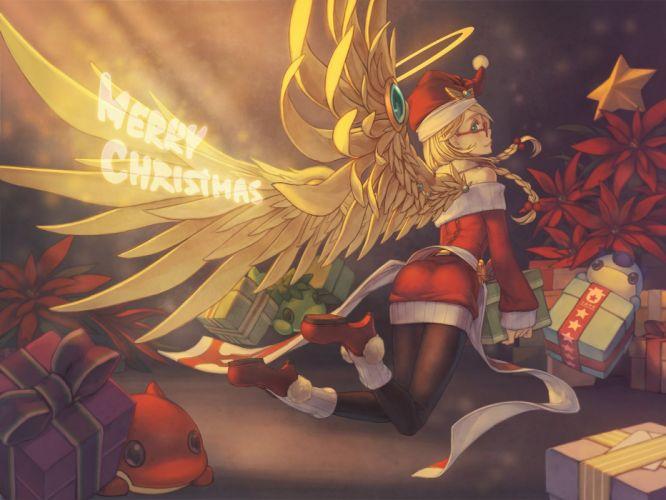 angel (p&d) blonde hair braids christmas hat pantyhose puzzle & dragons rotix santa costume santa hat wings wallpaper