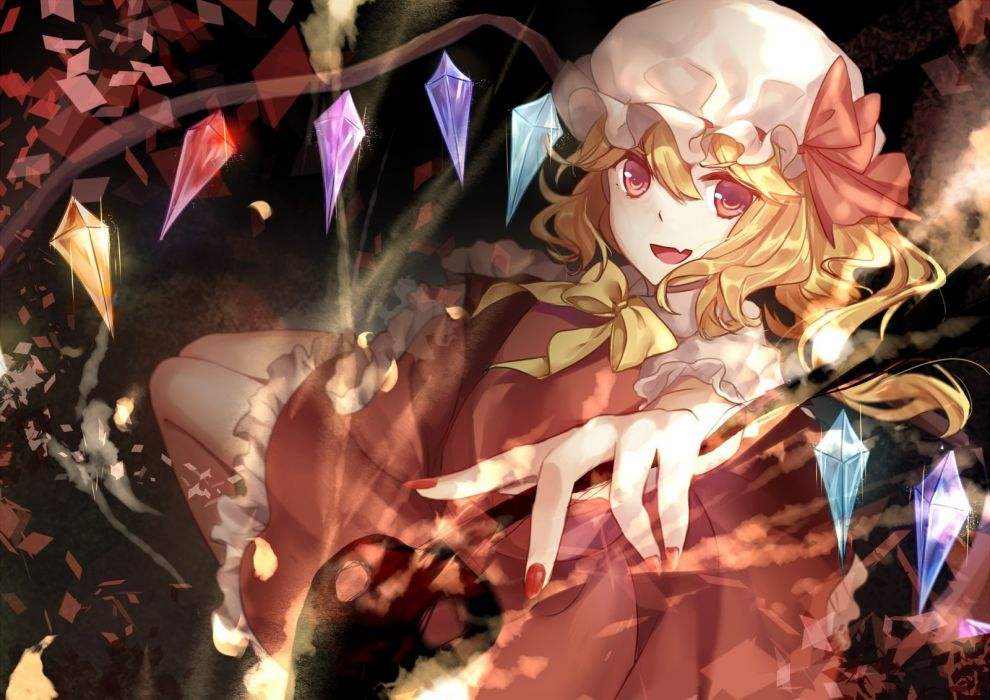 blonde hair bow elise (piclic) flandre scarlet hat red eyes skirt touhou vampire wings wallpaper