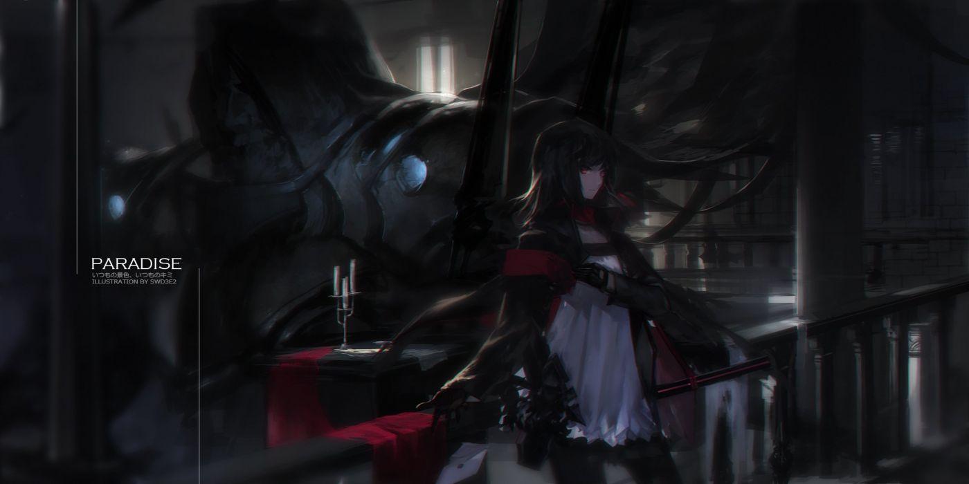 black hair dark dress gloves pantyhose paradise (pffk) pixiv fantasia red eyes swd3e2 wallpaper