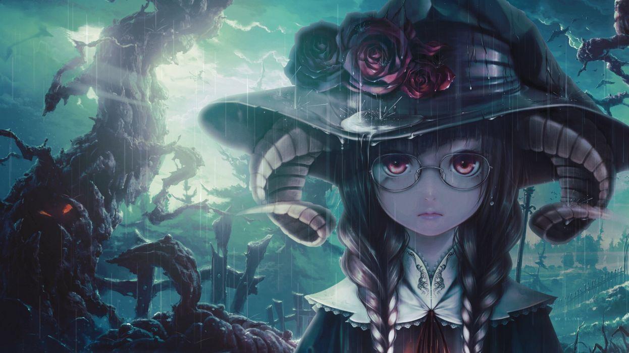 bouno satoshi halloween original photoshop unidcolor witch wallpaper