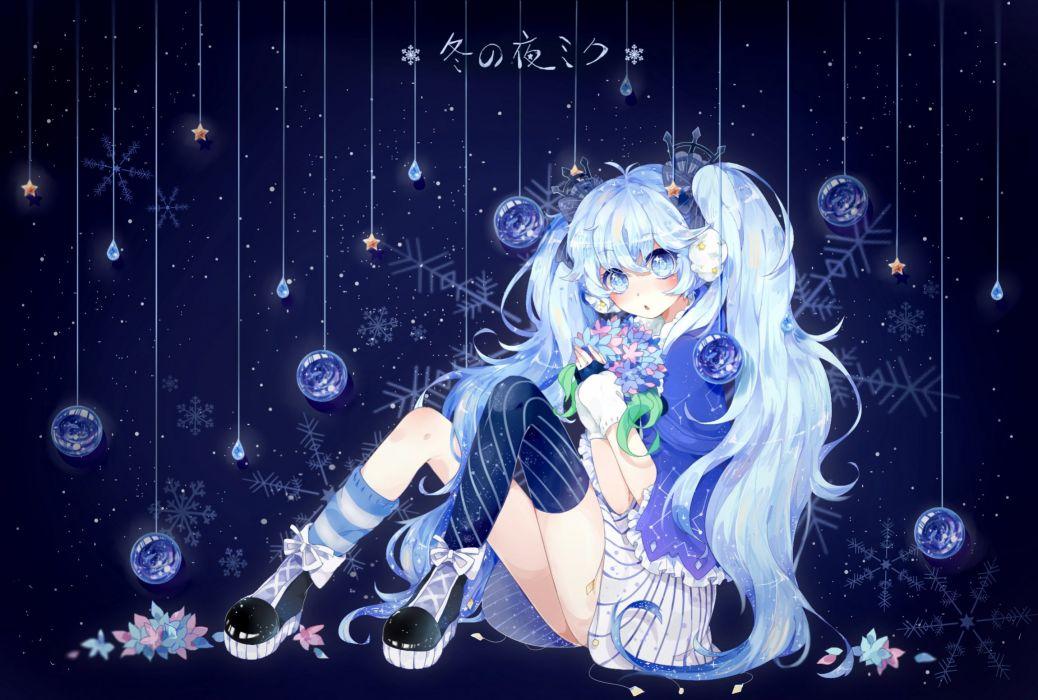 fuyu no yoru miku hatsune miku long hair tagme (artist) twintails vocaloid wallpaper