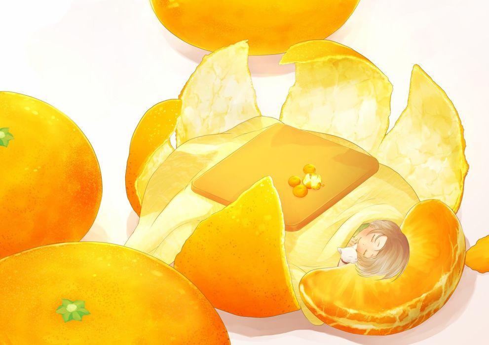 ahira yuzu animal brown hair cat fruit kotatsu orange (fruit) original short hair sleeping wallpaper