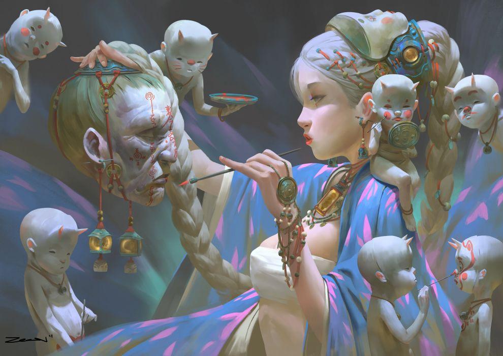 original signed zeen psychedelic fantasy art artwork wallpaper