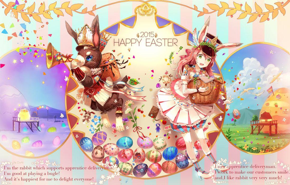 aliasing animal bunny ears eikura (matti) green eyes instrument original rabbit red hair skirt wallpaper