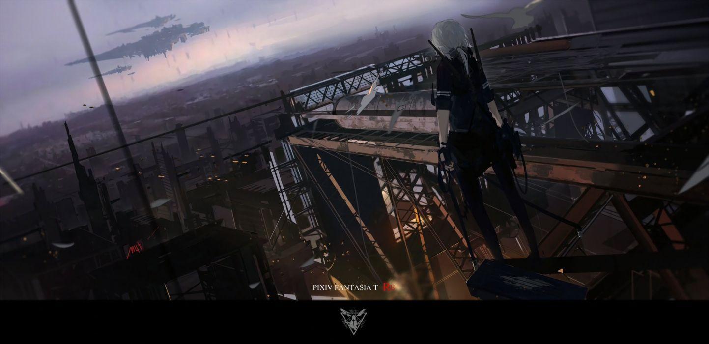 city dark gloves gun mivit pixiv fantasia ponytail sky weapon wallpaper
