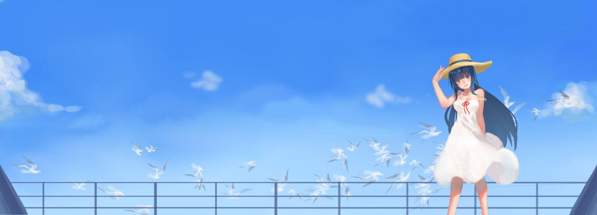animal bird black hair dualscreen hat long hair photoshop sky summer dress yuuuuuuuuuuuuka zhanjian shaonu wallpaper