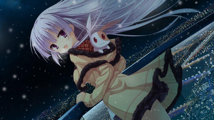 animal hatsuyuki sakura long hair night pink eyes purple hair snow tamaki sakura tanishi 0403 wallpaper