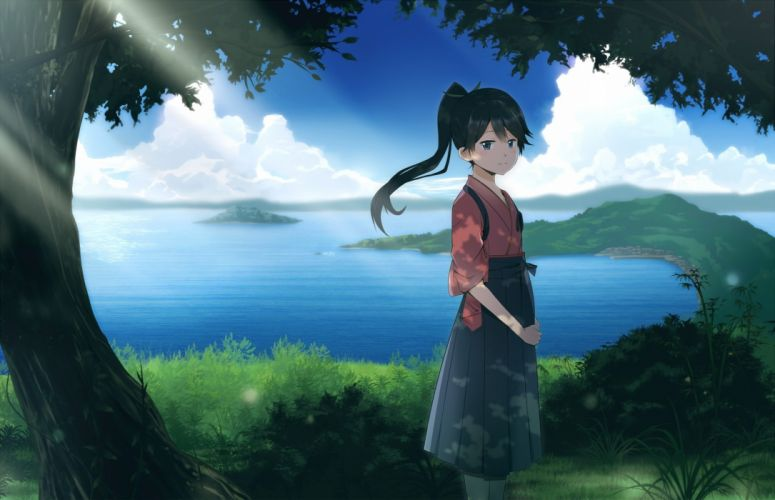 black hair clouds grass houshou (kancolle) japanese clothes kantai collection ohiya ponytail scenic skirt tree water wallpaper