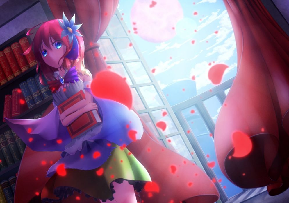 blue eyes book bow no game no life petals red hair short hair stephanie dola tagme (artist) wallpaper