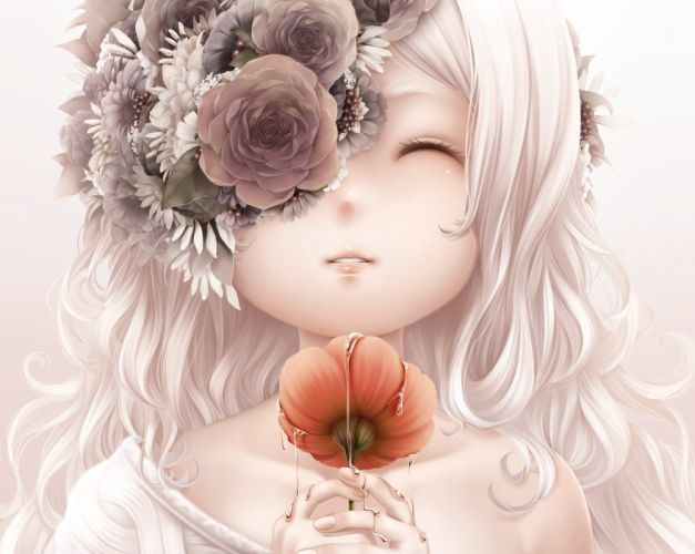 bouno satoshi cropped flowers long hair original white hair wallpaper