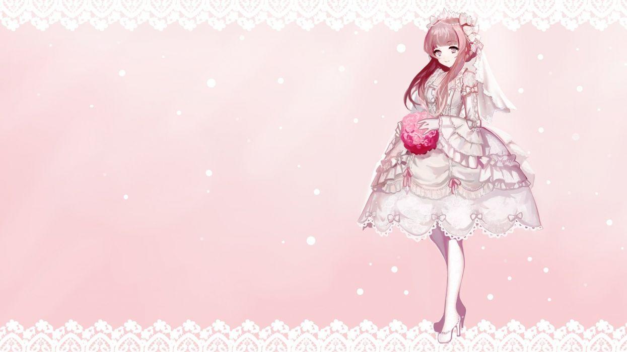 brown hair flowers headdress lolita fashion moemoe3345 monochrome original photoshop pink wedding attire wallpaper