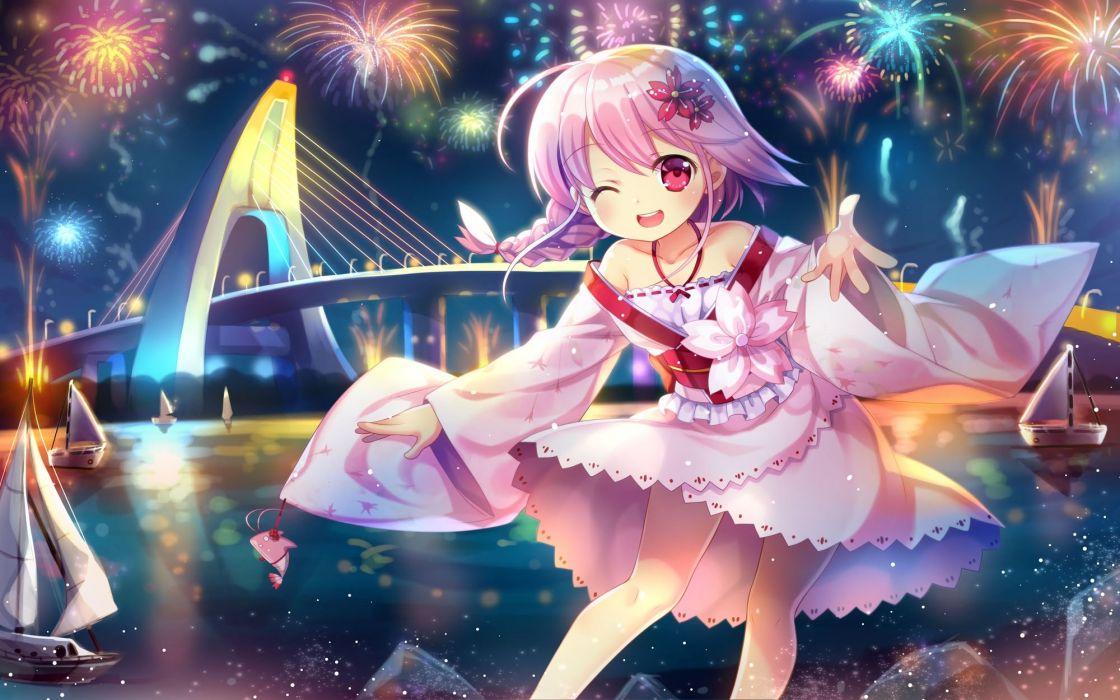anthropomorphism boat capura lin fireworks photoshop pink hair ponytail red eyes sergestid shrimp xuan ying wallpaper