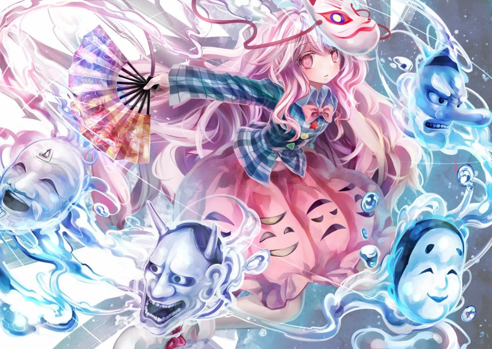 afraco bow fan hata no kokoro mask photoshop pink eyes pink hair touhou wallpaper