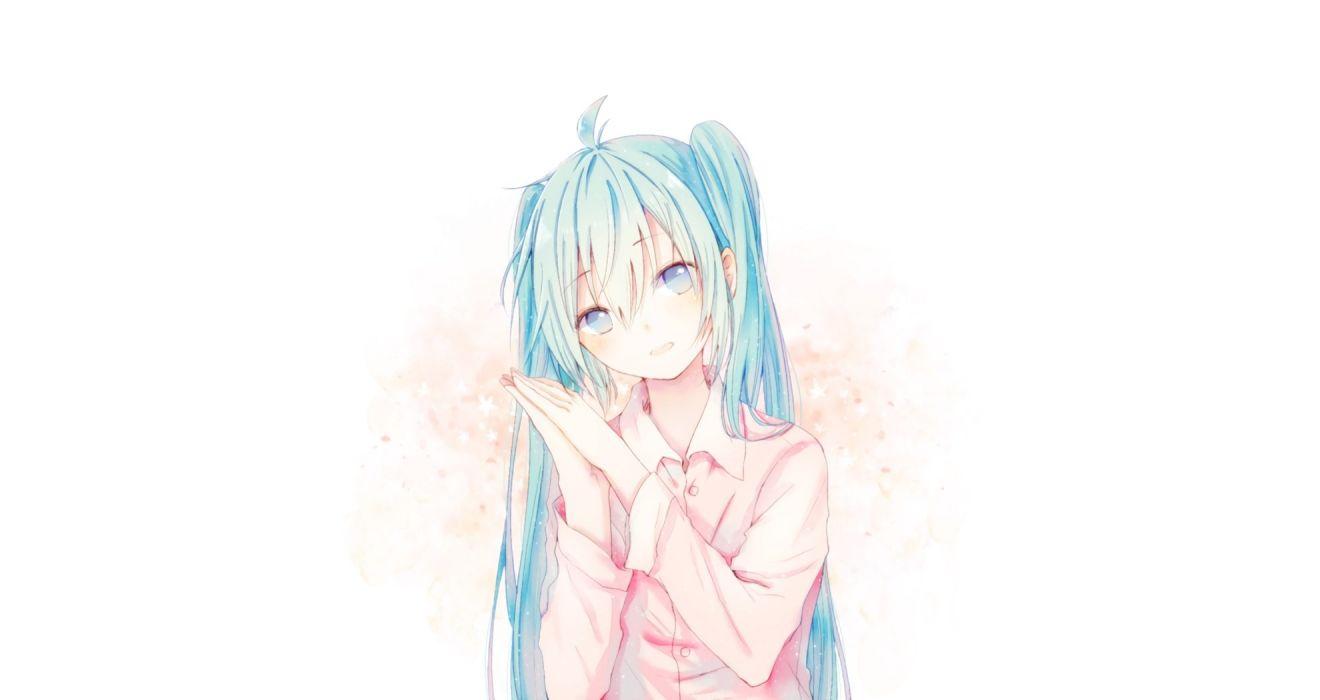 aliasing blue eyes blue hair hatsune miku long hair photoshop polychromatic shirt tagme (artist) twintails vocaloid white wallpaper