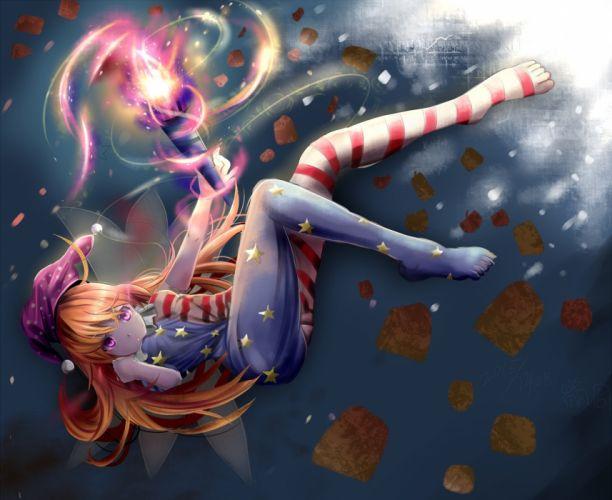blonde hair clownpiece fairy fire hat houdukixx long hair pantyhose pink eyes touhou wallpaper