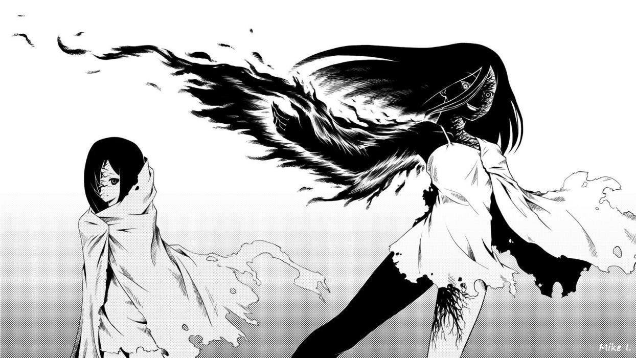 black hair gradient ikezawa hanako katawa shoujo long hair magic mike inel monochrome signed torn clothes wallpaper