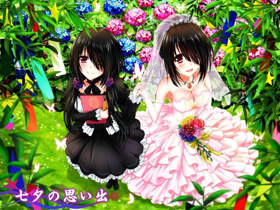 aliasing date a live flowers goth-loli tokisaki kurumi tsubasaki wedding attire wallpaper