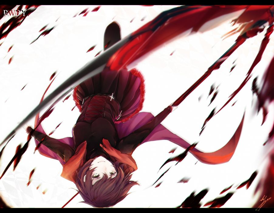 blood cape marumoru ruby rose rwby scythe short hair skirt weapon wallpaper