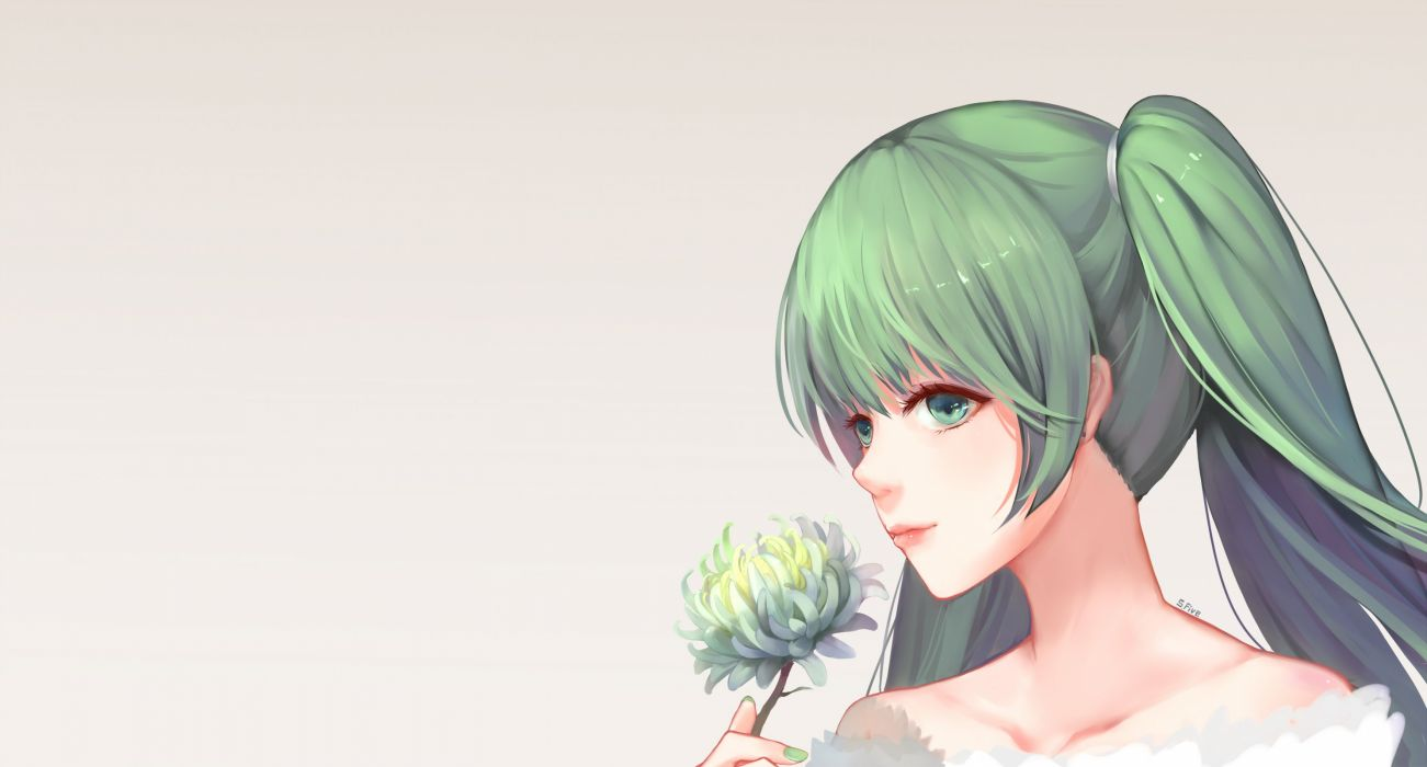 aqua eyes flowers green hair hatsune miku long hair sfive signed twintails vocaloid wallpaper