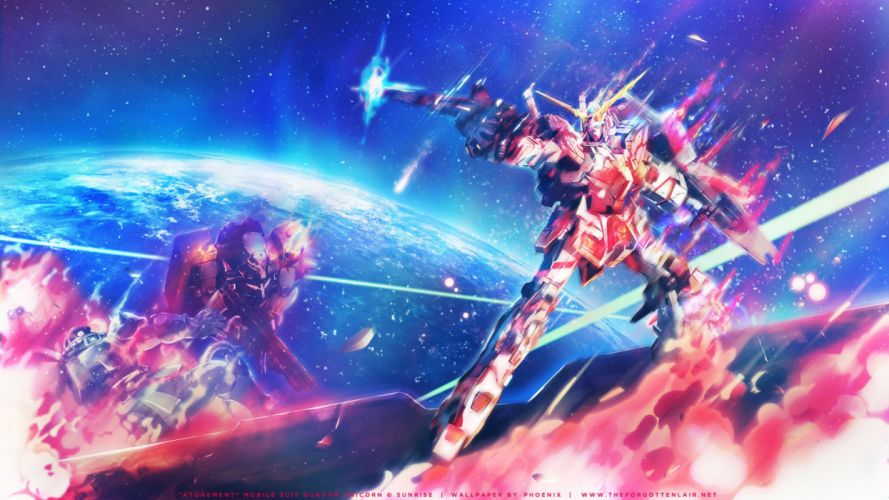 blue earth fire gun mecha mobile suit gundam mobile suit gundam unicorn pink planet robot rx-0 unicorn gundam space stars weapon wallpaper