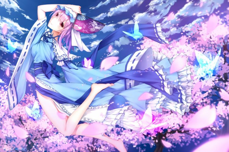 bow butterfly cherry blossoms clouds dress fan hat japanese clothes kimono kurisu tina pink hair red eyes ribbons saigyouji yuyuko sky touhou wallpaper