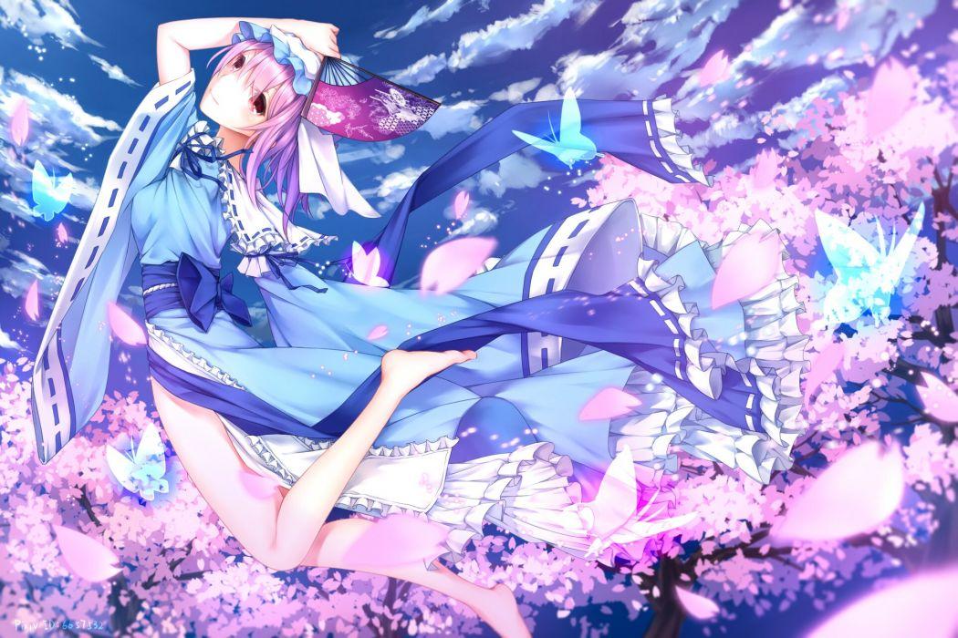 bow butterfly cherry blossoms clouds dress fan hat japanese clothes kimono kurisu tina pink hair red eyes ribbons saigyouji yuyuko sky touhou wallpaper