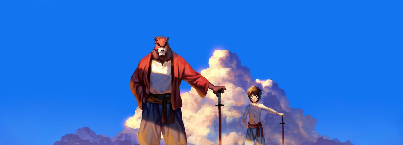 male animal bakemono no ko brown eyes brown hair clouds cropped dualscreen kumatetsu male nviek5 photoshop short hair sky sword weapon wallpaper